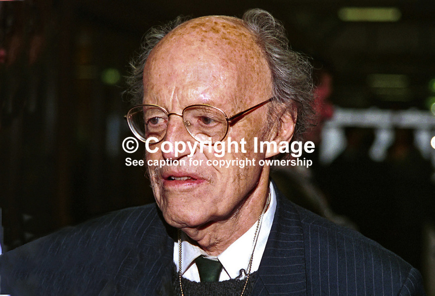 Lord Longford, aka Frank Pakenham, Peer, Labour Party, Britain, UK, Author, Journalist. Photograph taken at 1996 Conservative Party Conference in Bournemouth. Ref: 199610357..Copyright Image from Victor Patterson, 54 Dorchester Park, Belfast, UK, BT9 6RJ..Tel: +44 28 9066 1296.Mob: +44 7802 353836.Voicemail +44 20 8816 7153.Skype: victorpattersonbelfast.Email: victorpatterson@mac.com.Email: victorpatterson@ireland.com (back-up)..IMPORTANT: If you wish to use this image or any other of my images please go to www.victorpatterson.com and click on the Terms & Conditions. Then contact me by email or phone with the reference number(s) of the image(s) concerned.