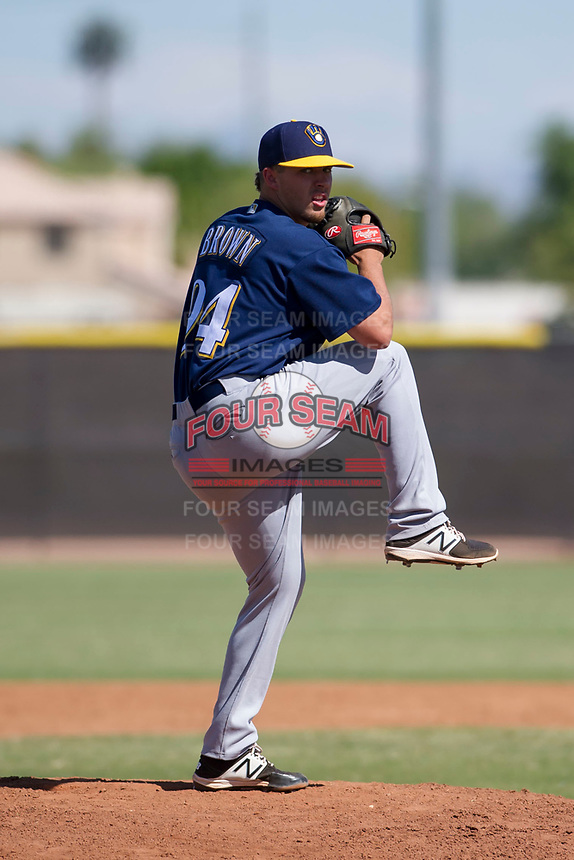 Milwaukee Brewers pitcher Daniel Brown (94) delivers a pitch to the plate during an Instructional League game against the San Diego Padres on September 27, 2017 at Peoria Sports Complex in Peoria, Arizona. (Zachary Lucy/Four Seam Images)