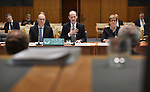 Australia and New Zealand Banking Group CEO Shayne Elliott (C) appears before the House of Representatives Standing Committee on Economics at Parliament House in Canberra, Australia, on Tuesday, March 7, 2017.  Photographer: Mark Graham/Bloomberg
