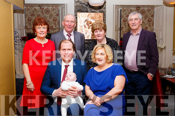 Christening party of baby Harry Quilter in the Brogue Inn on Saturday evening last,  <br /> Seated l-r, Mom and dad, William and Ciara Quilter with baby Harry Quilter<br /> Standing l-r, Grandparents, Geraldine and Frank Quilter, Kathleen and Jimmy Galvin.