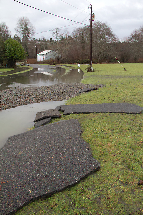 Duckabush River, Jefferson County, Olympic Peninsula, Washington State, Heavy winter rain in the Olympic Mountains causes neighborhood flooding along the Duckabush River, December 11, 2014,