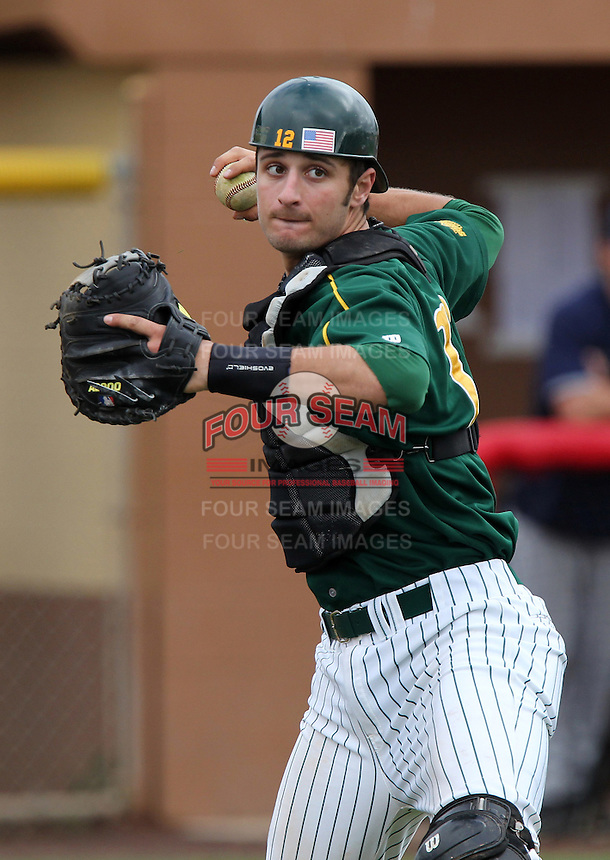 North Dakota State Bison catcher Tyler Steen #12 during practice before a game against the Pennsylvania Quakers at Henley Field on March 11, 2012 in Lakeland, Florida.  North Dakota State defeated Pennsylvania 15-3.  (Mike Janes/Four Seam Images)