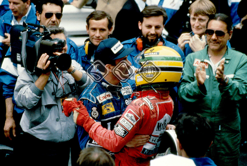 Nigel Mansell (Williams Renault) with Ayrton Senna.<br /> Motorsport- Formula One / History<br /> &copy; Explorer-Media / Australian Sports Archives
