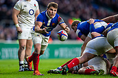 10th February 2019, Twickenham Stadium, London, England; Guinness Six Nations Rugby, England versus France; Antoine Dupont of France clears the ball from the back of the scrum