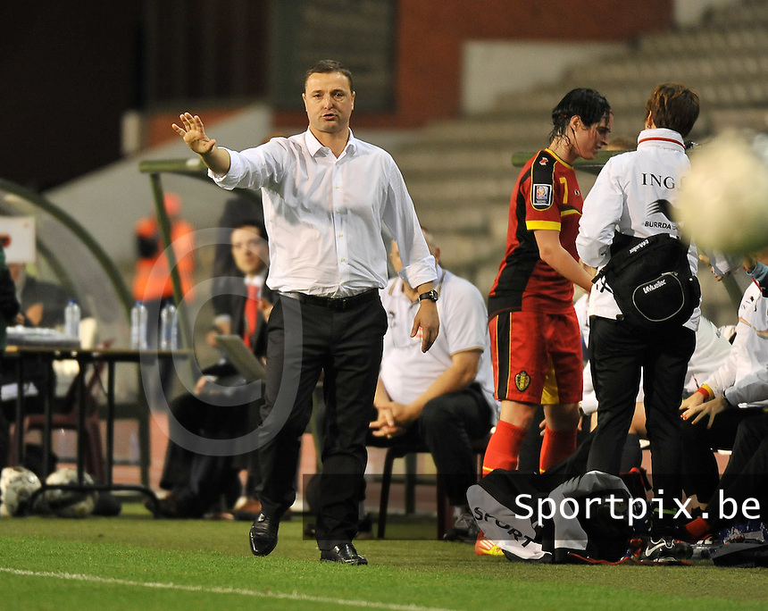 20130921 - BRUSSELS , BELGIUM : Belgian Coach Ives Serneels pictured during the female soccer match between Belgium and Albania , on the first matchday in group 5 of the UEFA qualifying round to the FIFA Women World Cup in Canada 2015 at the Koning Boudewijn Stadion , Brussels . Saturday 21th September 2013. PHOTO DAVID CATRY