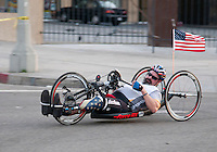 A handicapped veteran competes in the L.A. Marathon.