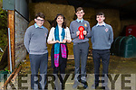 Maura Fitzgerald (Teacher) with the CBS students Padraig Crean, Michael Kirby and Mike Carroll who won 1st prize in the BT Young Scientists with book and module on Farm Safety.