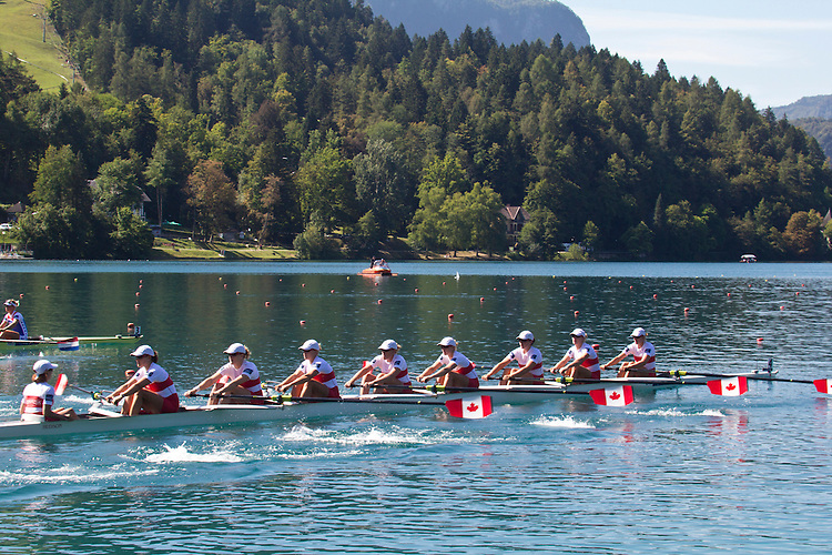 Rowing, 2011 FISA World Rowing Championships, Lake Bled, Bled, Slovenia, Europe, Rowing Canada Aviron, Canadian Women's Eight, 8+, From stern: Lesley Thompson Willie (London, ON) London RC, Andreanne Morin (Montreal, QC) Montreal RC, Darcy Marquardt (Richmond, BC) University of Victoria RC, Ashley Brzozowicz (London, ON) Western RC, Krista Guloein (Port Moody, BC) Western RC, Rachelle Viinberg (Regina, SK) Hanlan Boat Club, Natalie Mastracci (Thorold, ON) St Catharines RC, Cristy Nurse (Georgetown, ON) Ottawa RC, Janine Hanson (Winnipeg, MB) Winnipeg RC,