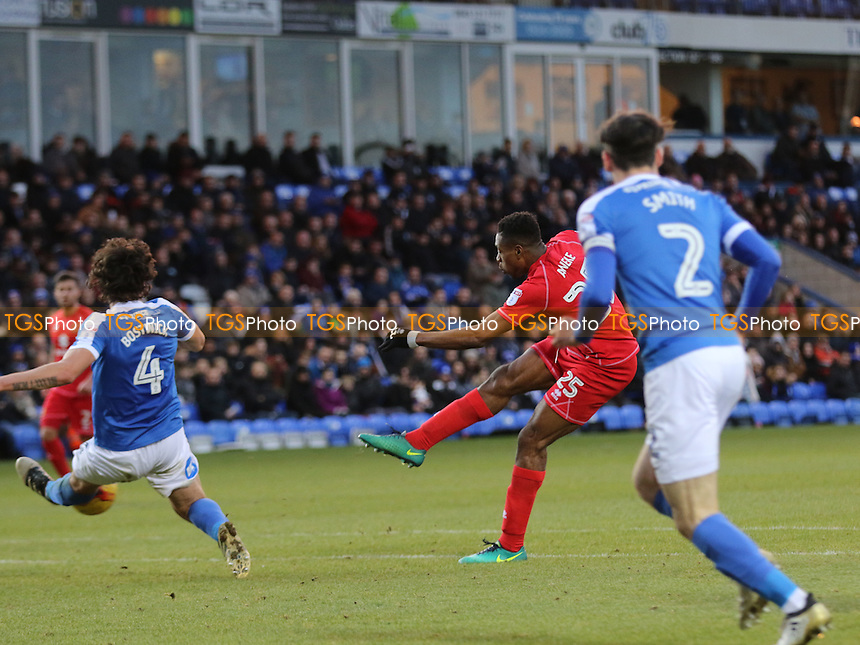 Chuks Aneke of MK Dons takes a shot at the Peterborough goal during Peterborough United vs MK Dons, Sky Bet EFL League 1 Football at London Road on 28th January 2017