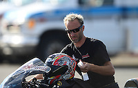 Sept 8, 2012; Clermont, IN, USA: NHRA pro stock motorcycle rider Matt Smith during qualifying for the US Nationals at Lucas Oil Raceway. Mandatory Credit: Mark J. Rebilas-