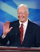 Boston, MA - July 26, 2004 -- Former United States President Jimmy Carter speaks from the podium on the first night of the 2004 Democratic National Convention on Monday, July 26, 2004 in Boston, Massachusetts. .Credit: Ron Sachs / CNP