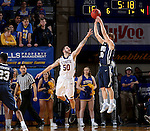 BROOKINGS, SD - FEBRUARY 4:  Michael Orris #50 from South Dakota State University tries to block the shot attempt of Jalen Bradley #10 from Oral Roberts during their game Saturday afternoon at Frost Arena in Brookings.(Photo by Dave Eggen/Inertia)
