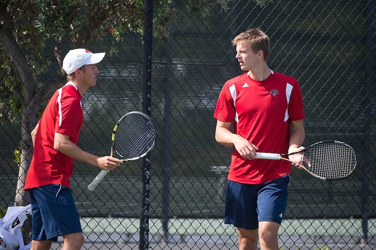 April 23, 2014; San Diego, CA, USA; Saint Mary's Gaels player Tuomas Manner (left) and James Markiewicz (right) during the WCC Tennis Championships at Barnes Tennis Center.