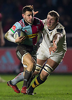 Harlequins' Danny Care evades the tackle of Wasps' Joe Launchbury<br /> <br /> Photographer Bob Bradford/CameraSport<br /> <br /> European Rugby Challenge Cup - Harlequins v Wasps - Sunday 13th January 2018 - Twickenham Stoop - London<br /> <br /> World Copyright &copy; 2018 CameraSport. All rights reserved. 43 Linden Ave. Countesthorpe. Leicester. England. LE8 5PG - Tel: +44 (0) 116 277 4147 - admin@camerasport.com - www.camerasport.com
