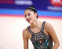 September 13, 2018 - Sofia, Bulgaria - MELINA BALDASSARRI of Italy smiles after performing routine at 2018 World Championships.