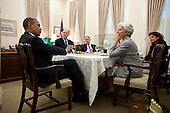 United States President Barack Obama talks with Christine Lagarde, Managing Director of the International Monetary Fund, during a meeting in the National Security Advisor's West Wing office at the White House, September 7, 2011. Attending the meeting, from left, are: National Security Advisor Tom Donilon; Mike Froman, Deputy National Security Advisor for International Economic Affairs; Caroline Atkinson, Special Assistant to the President for International Economic Affairs; and Nemat Shafik, Deputy Managing Director of the IMF. .Mandatory Credit: Pete Souza - White House via CNP