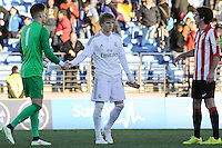 Real Madrid Castilla´s Martin Odegaard and Athletic Club B's Remiro and Unai Bilbao during 2014-15 Spanish Second Division match between Real Madrid Castilla and Athletic Club B at Alfredo Di Stefano stadium in Madrid, Spain. February 08, 2015. (ALTERPHOTOS/Luis Fernandez) /NORTEphoto.com
