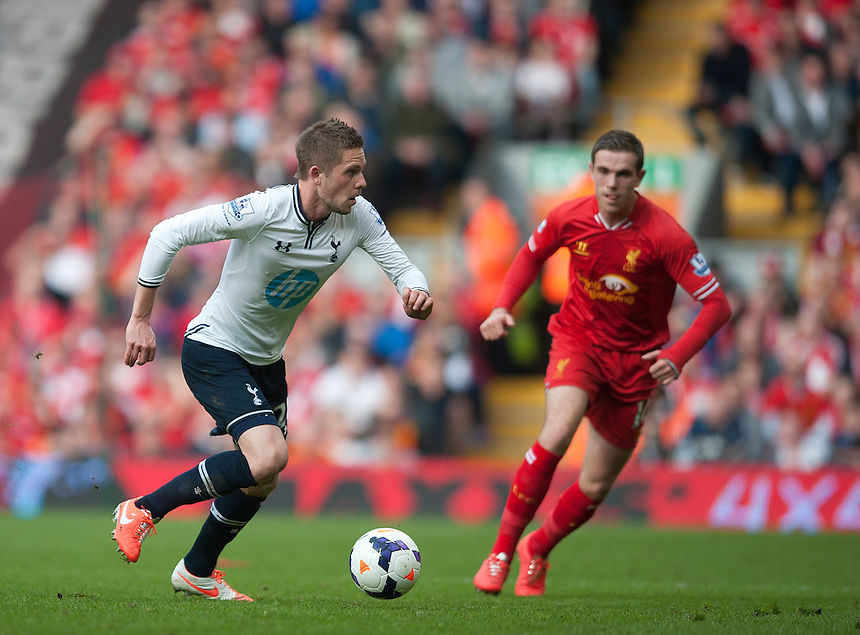 Tottenham Hotspur's Gylfi Sigurdsson<br /> <br /> Photo by Stephen White/CameraSport<br /> <br /> Football - Barclays Premiership - Liverpool v Tottenham Hotspur	 - Sunday 30th March 2014 - Anfield - Liverpool<br /> <br /> &copy; CameraSport - 43 Linden Ave. Countesthorpe. Leicester. England. LE8 5PG - Tel: +44 (0) 116 277 4147 - admin@camerasport.com - www.camerasport.com