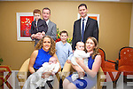 Double O'Connor family christening, cousins Cillian & Eva O'Connor who were christened on Saturday in The O'Connell Memorial Church, Cahersiveen pictured here front l-r; Rebecca, Cillian, Eva, Noreen, back l-r; Sean John Paul, Daniel & Tom O'Connor.