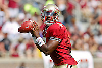 September 03, 2011:   Florida State Seminoles quarterback EJ Manuel (3) drops back to pass during 1st half action between the Florida State Seminoles and the Louisiana Monroe Warhawks at Doak S. Campbell Stadium in Tallahassee, Florida.
