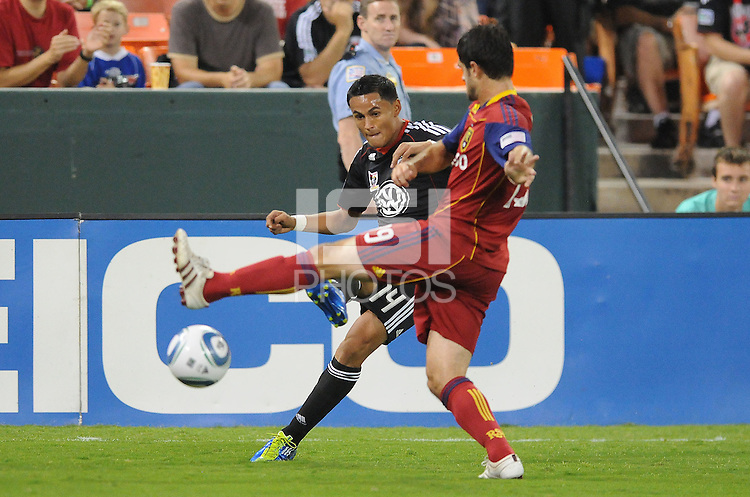 D.C. United midfielder Andy Najar (14) goes against Real Salt Lake defender Blake Wagner (19). D.C. United defeated Real Salt Lake 4-1 at RFK Stadium, Saturday September 24 , 2011.