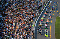 Jul. 5, 2008; Daytona Beach, FL, USA; NASCAR Sprint Cup Series drivers Mark Martin (8) and Paul Menard (15) lead the field to the green flag during the Coke Zero 400 at Daytona International Speedway. Mandatory Credit: Mark J. Rebilas-