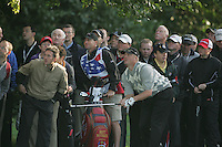 Straffin Co Kildare Ireland. K Club Ruder Cup...American Ryder Cup team members Brett Wetterich watches his ball land on the green after his second shot from the rough on the first fairway during the opening fourball session of the first day of the 2006 Ryder Cup, at the K Club in Straffan, Co Kildare, in the Republic of Ireland, 22 September 2006..Photo: Fran Caffrey/ Newsfile..