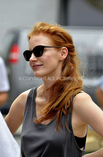 WWW.ACEPIXS.COM....July 13, 2012, New York City....Actress Jessica Chastain on the set of the new movie 'The disappearance of Eleanor Rigby' on July 13 2012 in New York City....By Line: Curtis Means/ACE Pictures....ACE Pictures, Inc..Tel: 646 769 0430..Email: info@acepixs.com