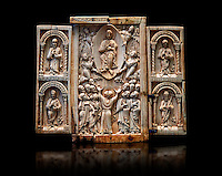 Medieval ivory Triptych relief panel depicting the Ascension, end of 11th cent. AD. Inv OA 6340, The Louvre Museum, Paris.