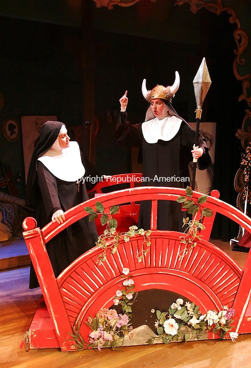 WATERBURY, CT 01/08/08-010808BZ17- Joyce Jeffrey as the &quot;Reverend Mother&quot; and Cathy Wilcox as &quot;Sister Robert Anne&quot; during rehearsal for Nunsense II at the Seven Angels theater in Waterbury Tuesday night. <br /> Jamison C. Bazinet Republican-American