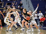 SIOUX FALLS, SD: MARCH 12:  Paige Redmond #00 of Central Missouri is surrounded by pressure from Augustana defenders during the 2018 NCAA Division II Women's Basketball Central Region Championship Monday at the Elmen Center in Sioux Falls, S.D. (Photo by DIck Carlson/Inertia)