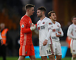 Dean Henderson of Sheffield Utd and Oliver Norwood of Sheffield Utd  during the Premier League match at Molineux, Wolverhampton. Picture date: 1st December 2019. Picture credit should read: Simon Bellis/Sportimage