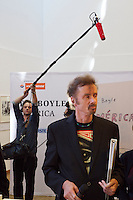 Vienna, Austria.<br /> T.C. Boyle (with red hair/beard).<br /> &ldquo;Eine Stadt, ein Buch (one city, one book)&rdquo; opening ceremony  at the Hauptb&uuml;cherei (main library), Urban-Loritz-Platz.<br /> As every year since 2002, the city of Vienna in cooperation with various sponsors gives away 100.000 free copies of a book by a world class author, this time &ldquo;Am&eacute;rica&rdquo; (The Tortilla Curtain) by American author T.C. Boyle.<br />More info at www.einestadteinbuch.at