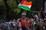 Vincenzo Nibali (ITA) Bahrain-Merida wins solo the 111th edition of Il Lombardia 2017 &quot; The Race of the Falling Leaves&quot; the final monument of the season, running 247km from Bergamo to Como, Italy. 7th October 2017.<br /> Picture: LaPresse/Marco Alpozzi | Cyclefile<br /> <br /> <br /> All photos usage must carry mandatory copyright credit (&copy; Cyclefile | LaPresse/Marco Alpozzi)