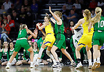 SIOUX FALLS, SD - MARCH 7: Tylee Irwin #21 of the South Dakota State Jackrabbits looks for an open teammate to pass to against the North Dakota Fighting Hawks defense at the 2020 Summit League Basketball Championship in Sioux Falls, SD. (Photo by Richard Carlson/Inertia)