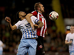 James Hanson of Sheffield United in action with Jordan Willis of Coventry City  during the English League One match at the Bramall Lane Stadium, Sheffield. Picture date: April 5th, 2017. Pic credit should read: Jamie Tyerman/Sportimage