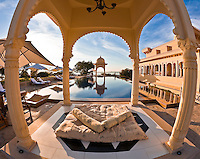 A tranquil morning at the beautiful poolside gazebo of the Oberoi Udaivilas. (Photo by Matt Considine - Images of Asia Collection)