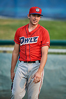 David Clawson (3) of the Orem Owlz before a game against the Ogden Raptors at Lindquist Field on August 4, 2018 in Ogden, Utah. The Owlz defeated the Raptors 15-12. (Stephen Smith/Four Seam Images)