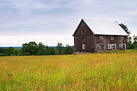 An old barn house on a field. Traditional style Swedish wooden painted house. Barn Fading peeling painting. Smaland region. Sweden, Europe.