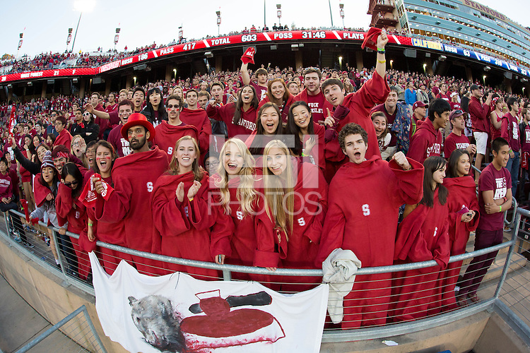 Stanford, CA -- November 23, 2013:  Stanford's fans during a game against Cal at Stanford Stadium. Stanford defeated Cal 63-13.