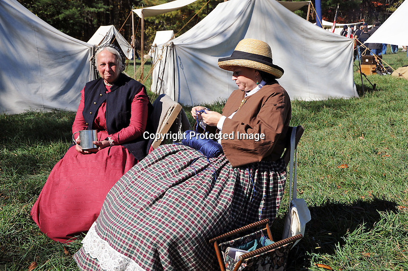 Civil War Reenactment Union Army Camp Women by Tents
