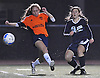 Casey Luongo #28 of Center Moriches, right, takes a shot on goal during the second of two varsity girls soccer all-star games pitting the Suffolk County seniors against their Nassau counterparts at Bethpage High School on Friday, Nov. 25, 2016. She scored three goals in Suffolk's 5-0 win.