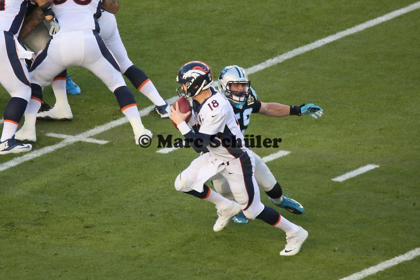 QB Peyton Manning (Broncos) gegen Luke Kuechly (Panthers) - Super Bowl 50: Carolina Panthers vs. Denver Broncos