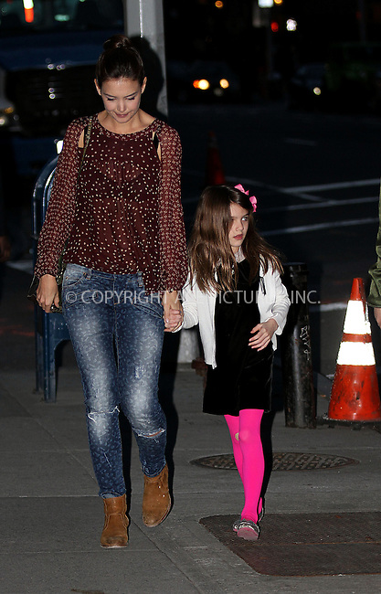 WWW.ACEPIXS.COM<br /> <br /> April 3 2014, New York City<br /> <br /> Actress Katie Holmes arrives on the set of the TV pilot 'Dangerous Liaisons' with her daughter Suri Cruise on April 3 2014 in New York City<br /> <br /> By Line: Zelig Shaul/ACE Pictures<br /> <br /> <br /> ACE Pictures, Inc.<br /> tel: 646 769 0430<br /> Email: info@acepixs.com<br /> www.acepixs.com