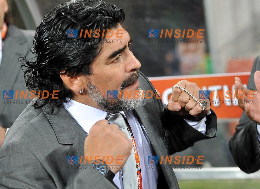 Diego Armando Maradona (Argentina)<br /> Argentina Messico 3-1 - Argentina vs Mexico 3-1<br /> Campionati del Mondo di Calcio Sudafrica 2010 - World Cup South Africa 2010<br /> Soccer City Stadium, Johannesburg, 27 / 06 / 2010<br /> &copy; Giorgio Perottino / Insidefoto