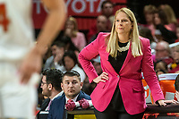 COLLEGE PARK, MD - FEBRUARY 03: Brenda Frese head coach of Maryland follows a play during a game between Michigan State and Maryland at Xfinity Center on February 03, 2020 in College Park, Maryland.