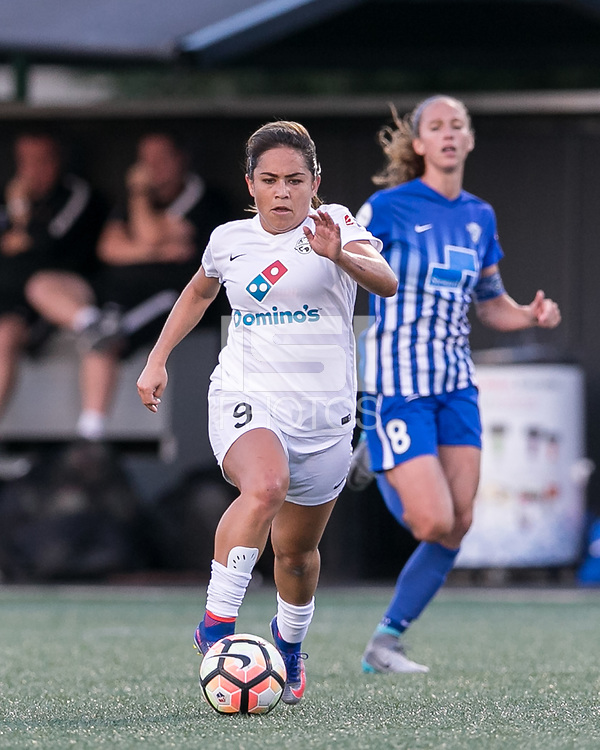 Allston, Massachusetts - August 4, 2017:  In a National Women's Soccer League (NWSL) match, Boston Breakers (blue) tied FC Kansas City (white), 2-2, at Jordan Field.