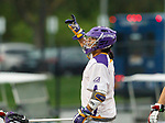 Tehoka Nanticoke (#1) celebrates a goal as UAlbany Men's Lacrosse defeats Richmond 18-9 on May 12 at Casey Stadium in the NCAA tournament first round.