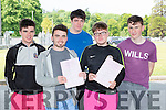 St Brendan's College students l-r: Michael Pierce, David Naughton, Tommy Horgan, Jack O'Connor and Donal O'Sullivan who sat the English Leaving cert exam on Wednesday