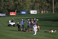 Rafael Cabrera-Bello (ESP) plays into the 18th green during Sunday's Final Round of the 2012 Omega Dubai Desert Classic at Emirates Golf Club Majlis Course, Dubai, United Arab Emirates, 12th February 2012(Photo Eoin Clarke/www.golffile.ie)